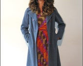 Vintage BROMLEIGH Blue Wool Jacket / Purple Buttons / Winter Wear / Beauty In Blue / 1960s