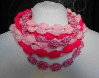Handmade necklace, scarf, neckwarmer. Crochet, infinity scarf, pink fuchsia