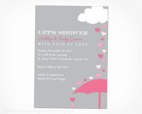 Pink and grey girl baby shower invitation printable rain shower il570xn filmwisefo