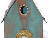 Neat Little Turquoise Shabby-Chic Birdhouse with Antique Cabinet Hardware. Free Shipping!