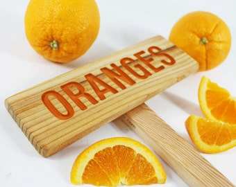 ORANGES Tree Sign, Hand Routed, Garden Tree Markers, Citrus Tree Sign, Fruit Signage, Custom Garden Sign, Personalized Garden Marker