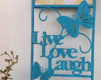 Metal Live-Laugh-Love Wall Hanging Picture Frame / Turquoise-Aqua Vertical Metal Wall Decor