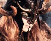 Fantasy Viking Leather Helm, armor, armure, costume, larp. larping, viking, fantasy, horn, helmet