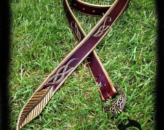 Elf leather belt, celtic, elvish, gold, burgundy, larp, larping, costume, fantasy, elfe, cuir, ceinture,