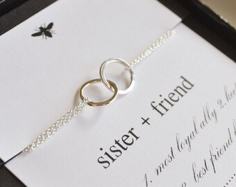 Sterling Silver Entwined Rings Sister Bracelet...Sister, Frienship, Best Friend
