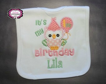 Owl Bib, Owl Birthday, First Birthday Bib, Cake Smash, Birthday Bib, First Birthday, Birthday Gift