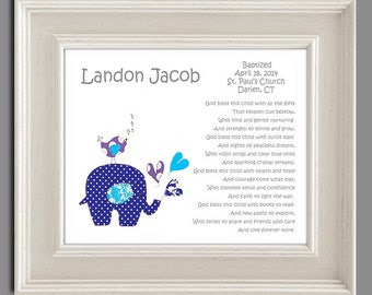 Baby Boy Baptism Gift - Christening Gifts for Boys - Personalized Baptism Gift - Elephant Nursery Art -Baby Nursery Decor - PRINT
