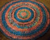 RESERVED for Susan Miller*  PInk, Blue, Purple and Beige Circular Plarn Rug
