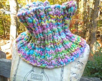 SALE~ Cowl, Hand Knit, from Handspun Art Yarn, Neckwarmer, Scarf, Polwarth Wool, Ribbed, Sweet Candy