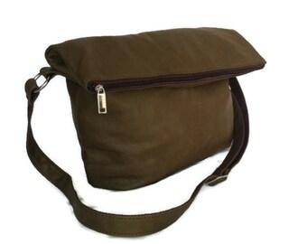 Foldover Leather Bag, Everyday Leather Crossbody Purse, Fashion Women Bag, Stylish Shoulder Handbag julia