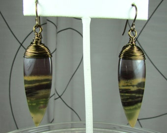 Wire wrapped Chohua Jasper and brass earrings