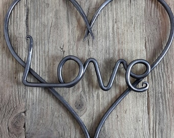Love Heart Wall Art - Sculpture - Blacksmith Hand Forged - Valentine's Day