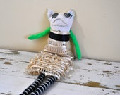 Unique Sock Animal Cat with Gold Lace Dress, Rag Doll, Hand-Stitched, Made from all Reclaimed Clothing, Sustainable Gift, Plush Toy, OOAK