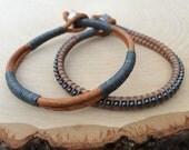 Mens Leather Bracelet Set, Guys Bracelet, Men's Jewelry, Rugged, Simple, Unique, Gift for Him, Graduation Gift