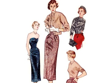 1940s Strapless Dress Pattern, Simplicity 3027, Separates: Bustier, Skirt, Jacket, Blouse, Hat, 1949 Vintage Sewing Pattern, Bust 32
