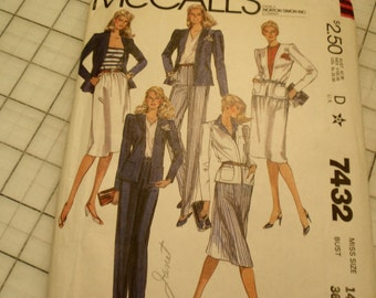 McCall's 7432 Jacket Skirt and Pants Vintage Pattern 1981