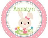 "Easter Bunny Polka Dot Personalized 10"" Melamine Plate, 20 oz. Bowl or 2 Piece Set | Customized | Spring | Rabbit"