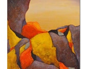 """RESERVED FOR S   -  SALE - Climb Original Landscape Abstract Yellow Purple Red  Rocks Stones 8 x 10 """"Climb 1106"""""""