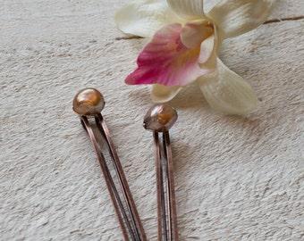 Copper Pearl Hair Pins Chocolate Brown Large Pearl Bobby Pins Wedding Hair Pins