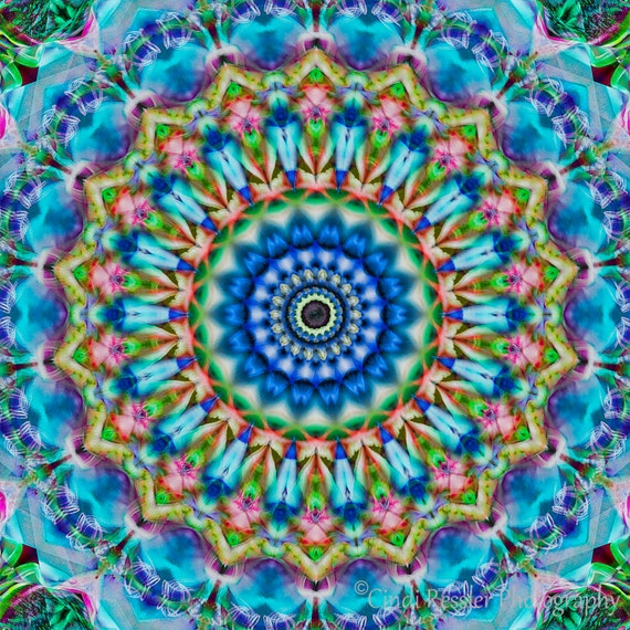 Soothing Blues Mandala, Fine Art, Digital Art, Photo Art, Abstract Art