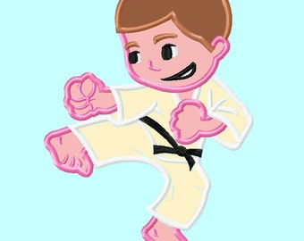 Ninja Karate Boy brown hair  APPLIQUE Embroidery Design INSTANT DOWNLOAD