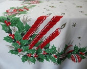 Vintage Christmas tablecloth, cotton rayon blend, balls, bows, bells, snowflakes, holly and candles, retro,