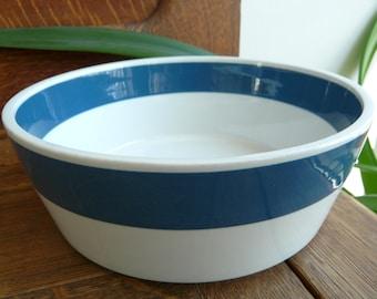 Arabia, Finland, Atria, serving bowl, teal blue rim