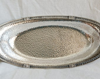 Vintage Meriden silver plate bowl…oval bowl…hammered…Greek Revival…Meriden 2341.