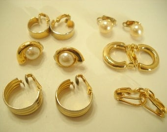 Six (6) Vintage Pairs Of Gold Tone Clip Earrings (8992**)