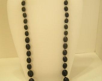 "Vintage 23"" Black & White Plastic Beaded Necklace (4574)"