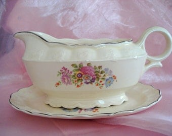 Vintage Shabby Gravy Boat TST China Taylor Smith Taylor Shabby Cottage Chic Saucer