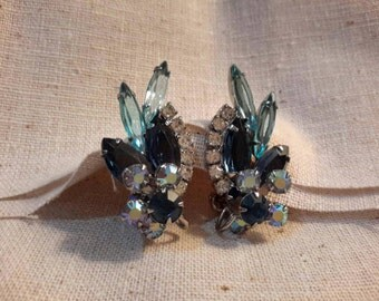 Likely Juliana Stunning Clip Earrings, Blue, Clear and AB Rhinestones