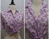 Vintage 1950s Purple Pink Flower Print Shirt Blouse / NOS / Medium / Large