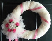 Wreath, Door Hanging, Wedding Decor, Wedding Wreath in Beautiful Ivory and Satin with an Ivory Satin Rose