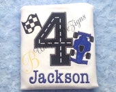 Race Car Shirt, Race Track Shirt, Applique Boys Birthday Number T-Shirt or Bodysuit, Car Shirt