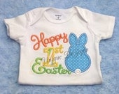 Applique Happy 1st Easter Shirt, Easter Bunny Shirt,  Boys or Girls Esater Shirt