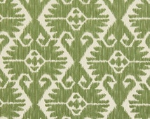 Leaf Green Ikat Upholstery Fabric - Heavyweight Woven Ikat for Furniture - Medallion Pillow Covers - Light Green Headboard Material