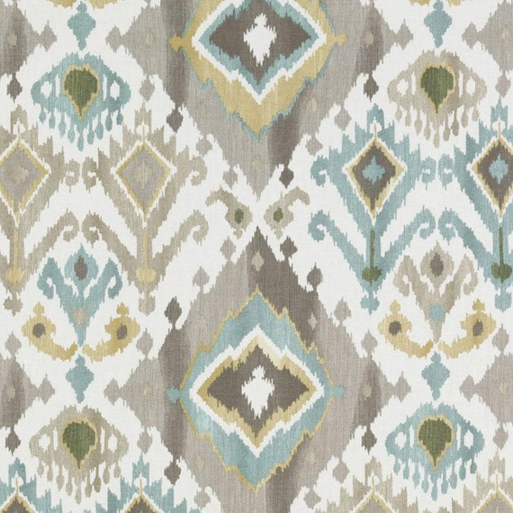 Aqua Blue Brown Ikat Upholstery Fabric   Custom Blue Gold Ikat Curtain  Panels   Modern Ikat Pillow Covers   Blue Ikat Fabric For Furniture From ...