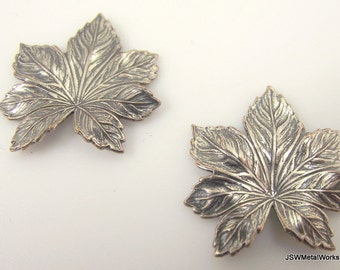 Antiqued Silver Maple Leaf Charm, 24 x 24 mm