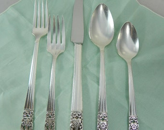 Vintage Silverware Silver Plate Flatware Community Coronation 5 Piece Place Setting