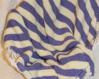 Soft Knit Baby Blanket in Purple and Cream Stripes