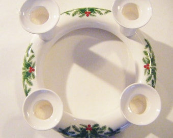 Vintage Mid Century Porcelain Four Candle Candleholder Ring With Christmas Holly Berries