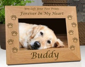 Pet Memorial Frame - Personalized - Paw Prints My Heart ...or... Paw Prints Our Hearts