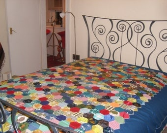 vintage handmade patchwork bed spread/throw
