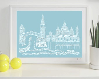 Venice Skyline Typography Print