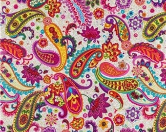 FABRIC-Bright Paisley Fabric by the Yard-Quilt Fabric-Apparel Fabric-Home Decor Fabric-Fat Quarter-Craft Fabric-Fat Quarters