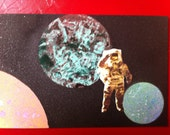 SHIT IN SPACE # 35 Astronaut in space. Spray paint collage art series.