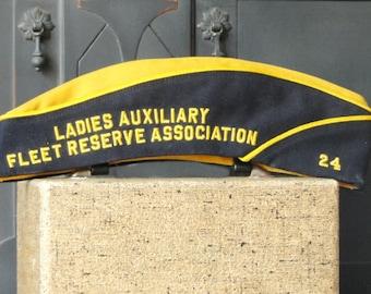 Vintage Military Garrison Hat, Ladies Auxiliary Fleet Reserve Associaton, Blue, Gold