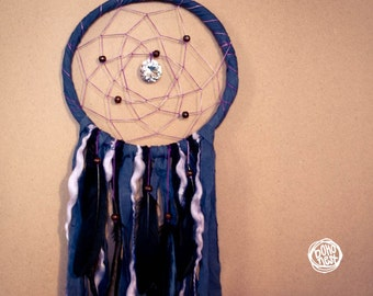 Christmas SALE -20% -- Dream Catcher - Purple Dreams - With Round Crystal Prism, Black Feathers, Laces and Textiles - Home Decor, Mobile