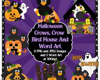Halloween Clip Art - Halloween Crows Clip Art - Crow Clip Art - Instant Download - Personal and Commercial Use